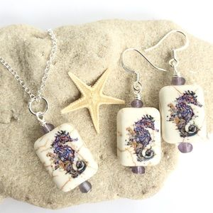Stone Seahorse Earrings and Necklace